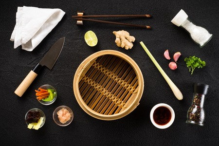 Asian food ingredients and steamer top view Stock Photo