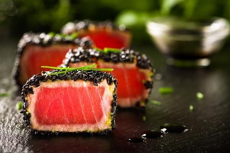 japanese meal: Fried tuna steak in black sesame