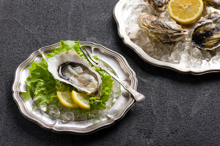 aphrodisiac: Fresh oyster on plate ready to eat