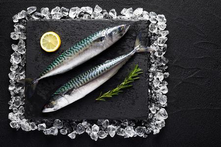 Verse makreel vissen op ijs op een zwarte stenen tafel bovenaanzicht Stockfoto
