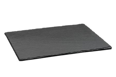 plato de comida: Vaciar la placa de pizarra de color negro sobre fondo blanco
