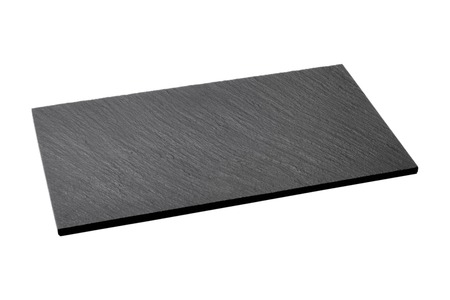 Empty black slate plate isolated on white background Stock Photo