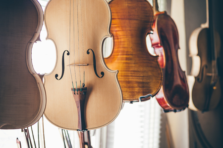 Handmade violin on luthier workshop