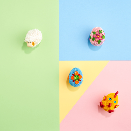 Easter eggs with paper on colorful pastel design graphic background