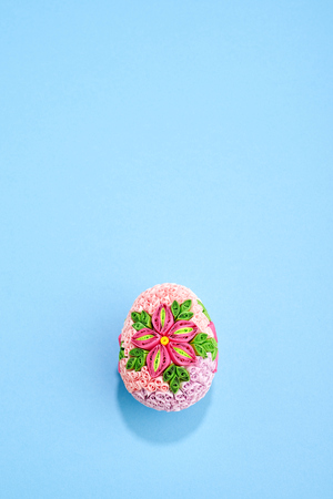 Easter eggs with paper on bluel pastel  background  Stock Photo