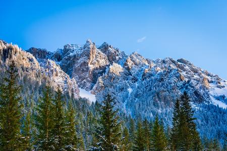 Mountain peak from Pisana glade, Koscieliska valley winter, Tatra mountains, Poland