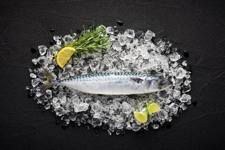 Fresh mackerel fish on ice on a black stone table top view 版權商用圖片