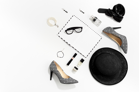 Black and white fashion stylish women clothes and accessories top view
