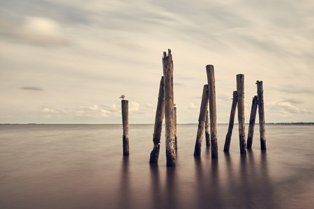 Minimalist sea, sky and breakwater landscape, Baltic sea, Poland