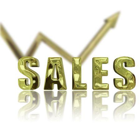 depicting: Gold rendered sales lgraphic depicting success & improvement