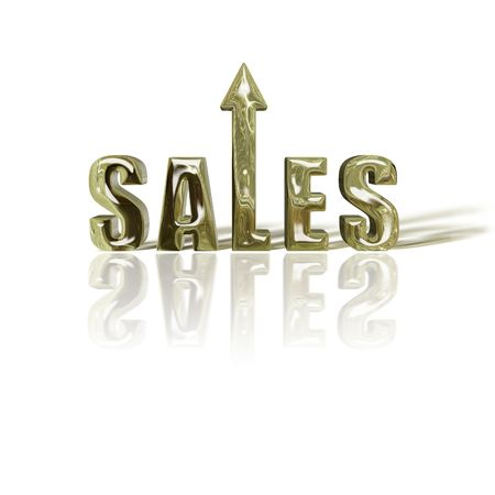 3D sale text depicting improved or rise sales. Rendered in Gold. photo