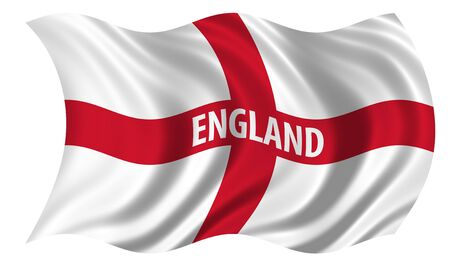 billowing: Flag of the Patron Saint of England, St George, billowing in the wind  Stock Photo