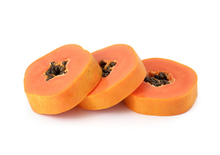 cutaneous: sliced papaya isolated on a white background