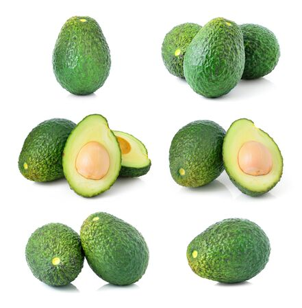 fresh avocado isolated on white background photo