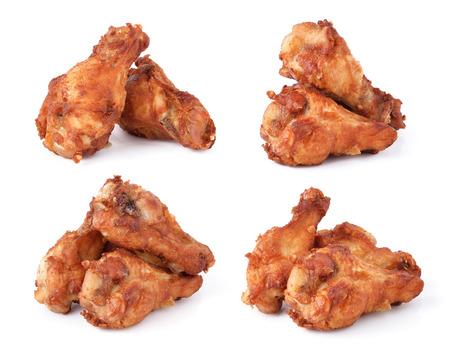 chicken roast: Pollo frito en el fondo blanco