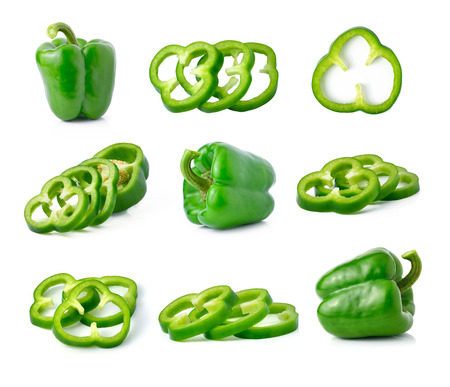 green pepper isolated on white photo