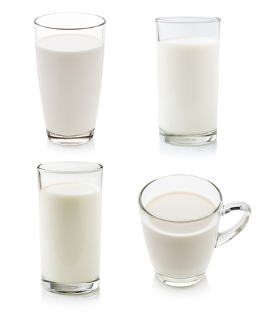 drinking milk: Glass of milk isolated on white