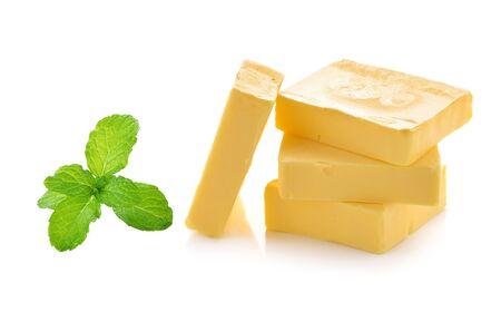 mint and butter isolated on white background photo