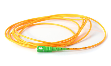 fiber optic cable: Fiber optic cable on white background Stock Photo