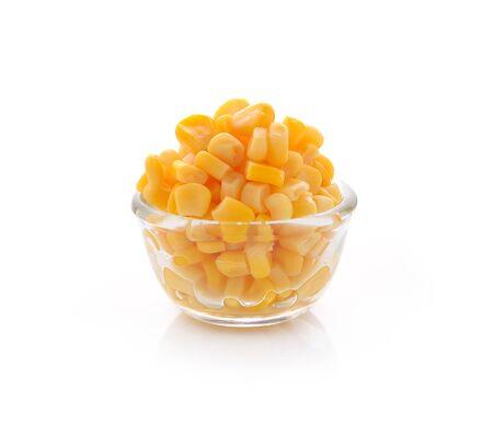 kernel: Sweet whole kernel corn on white background