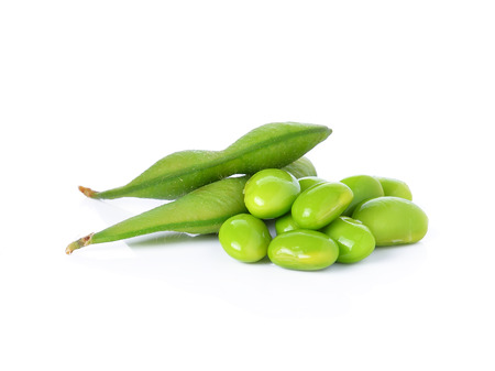 close up food: Green soybeans on white background Stock Photo