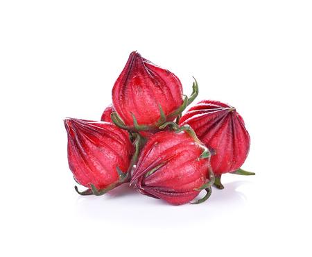 Hibiscus sabdariffa or roselle fruits isolated on white background photo