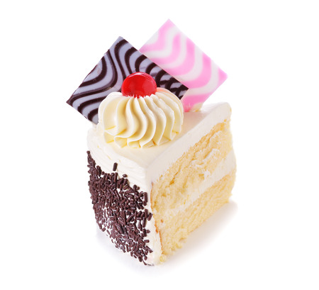 fairy cake: Fancy a piece of cake on white background Stock Photo