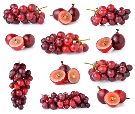 red grapes isolated on white 스톡 콘텐츠