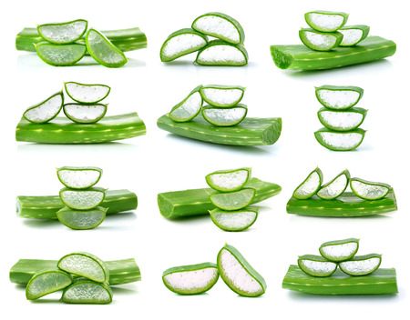 aloe vera fresh leafs isolated on white Фото со стока