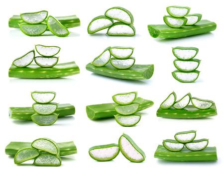 aloe vera: aloe vera fresh leafs isolated on white Stock Photo