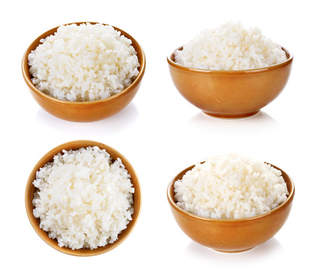 boiled: Rice in a bowl on a white background