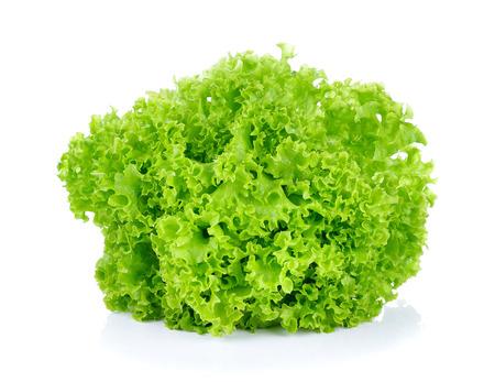 fresh green lettuce leaves isolated on white Standard-Bild