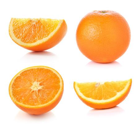 frutas tropicales: Frutas de color naranja sobre fondo blanco