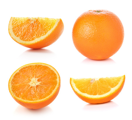 orange slice: Orange fruit isolated on white background