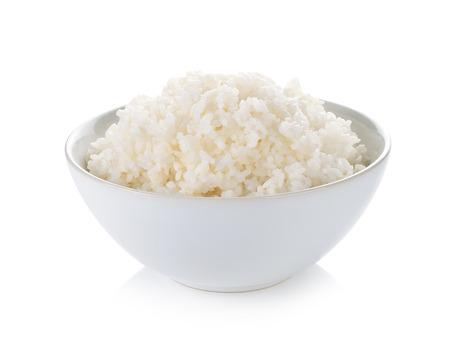 白い背景上にボウルに米