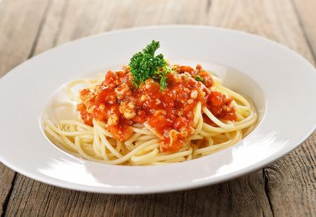 spaghetti pasta with tomato sauce. photo