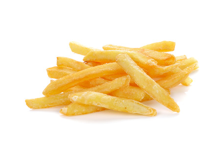 a pile of appetizing french fries on a white background photo