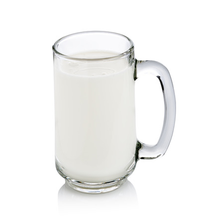 pasteurized: glass of milk isolated on white with