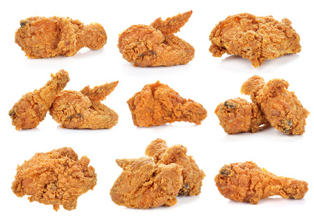 Golden brown fried chicken on white background. Stok Fotoğraf