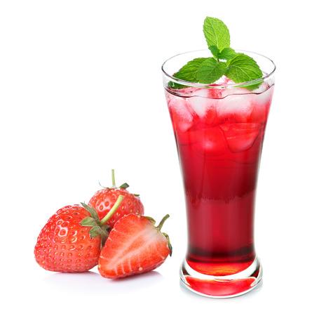 juice: Fresh strawberry and juice glass isolated on white