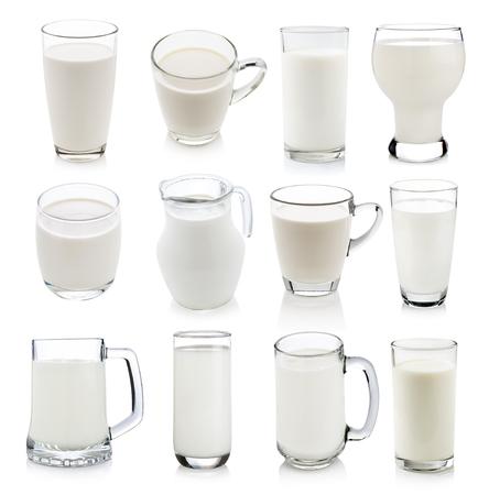 白で隔離牛乳のガラス 写真素材