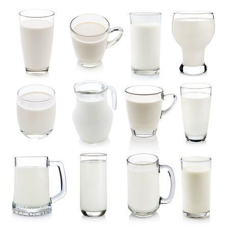 glass of milk: Glass of milk isolated on white
