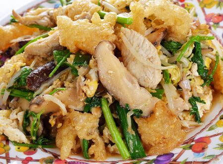 maw: stir fry fish maw with egg and vegetable in chinese style