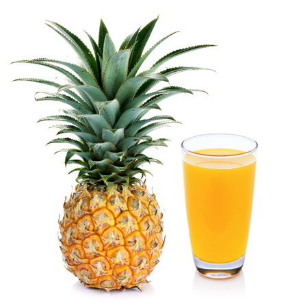 pineapple  glass: Pineapple juice and pineapple isolated on white