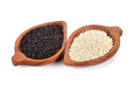 white sesame seeds: black and white sesame seeds isolated on white background