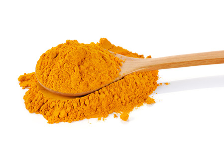 curcuma: Turmeric (Curcuma) powder isolated on white background. Stock Photo
