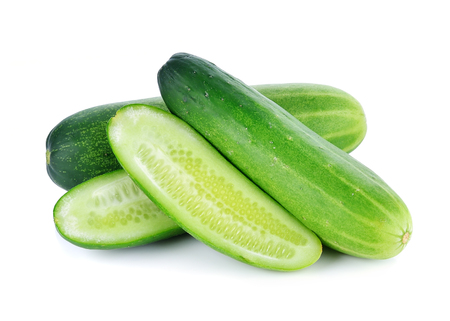 Cucumber isolated over white background. Stok Fotoğraf