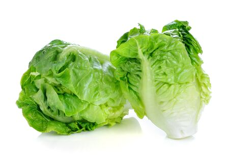 cos: fresh baby cos (lettuce) on white background