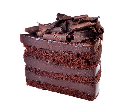 cake slice: Chocolate cake slice on white background.