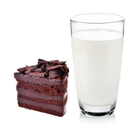 pasteurized: Glass of milk with Chocolate cake isolated on white